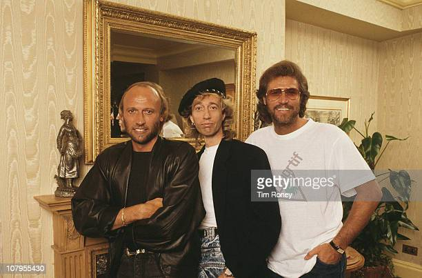 English pop group the Bee Gees circa 1990 Left to right Maurice Robinand Barry Gibb