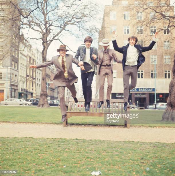English pop group the Bee Gees in London 24th April 1967 From left to right drummer Colin Peterson Barry Gibb Robin Gibb and Maurice Gibb
