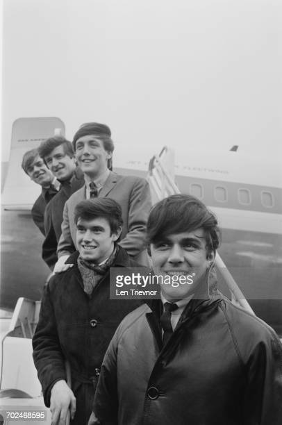 English pop group The Dave Clark Five at London Airport UK 2nd March 1964 From front to back they are Dave Clark Denis Payton Mike Smith Rick Huxley...