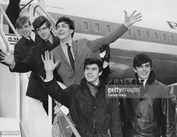English pop group The Dave Clark Five leave London Airport UK for the United States 2nd March 1964 From front to back they are Dave Clark Denis...