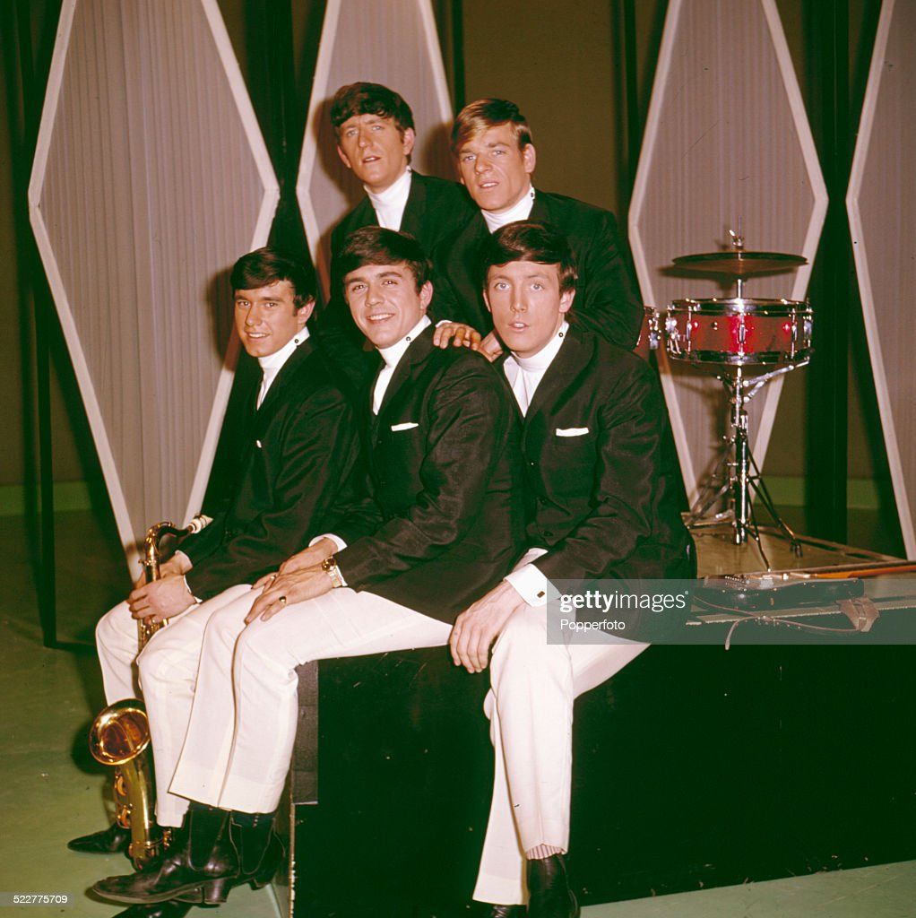 English pop group The Dave Clark Five posed together in London in 1964. Clockwise from bottom left: Denis Payton, Rick Huxley, Lenny Davidson, Mike Smith and Dave Clark.