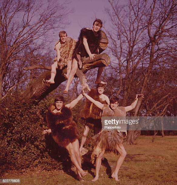 English pop group The Dave Clark Five posed wearing fur costumes in a park in London in 1964 Clockwise from top left Lenny Davidson Mike Smith Rick...