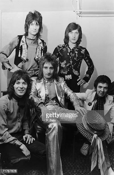 English pop group The Faces in their dressing room before a concert at Wembley Stadium 30th October 1972 The New York Dolls and Slade are also on the...