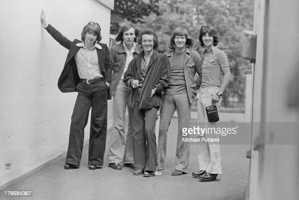English pop group The Hollies 1st September 1973 Left to right guitarist Tony Hicks bassist Bernie Calvert singer Allan Clarke drummer Bobby Elliott...