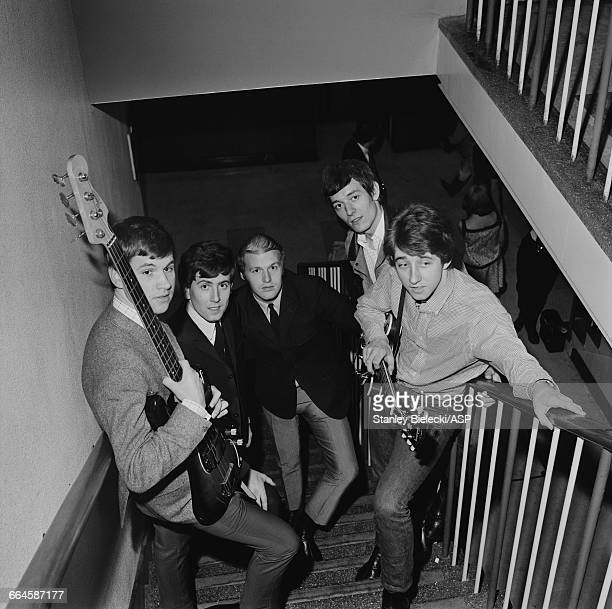 English pop group The Hollies at BBC Television Centre for an appearance on the 'Top Of The Pops' TV show London 3rd June 1965 The group are to...