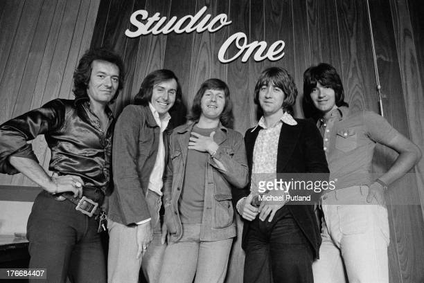English pop group The Hollies in a recording studio 1st September 1973 Left to right singer Allan Clarke bassist Bernie Calvert drummer Bobby Elliott...
