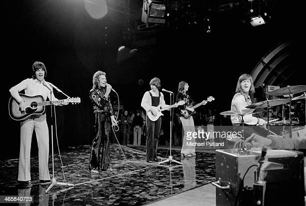 English pop group The Hollies performing on the BBC TV music show 'Top Of The Pops' London 7th March 1974 Left to right Terry Sylvester Allan Clarke...