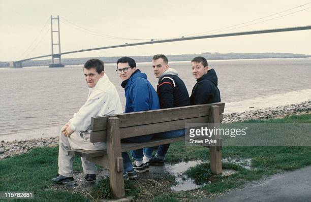 English pop group The Housemartins by the Humber Bridge Kingston upon Hull circa 1985 Left to right Paul Heaton Stan Cullimore Norman Cook and Dave...