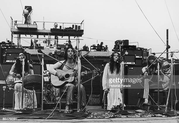 English pop group The Incredible String Band performing at the Woodstock Music Festival Bethel New York 15th August 1969 Left to right Rose Simpson...