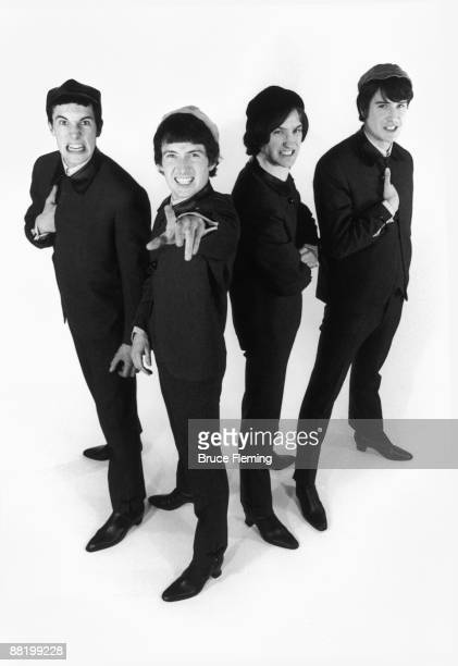 English pop group The Kinks circa 1964 Left to right drummer Mick Avory bassist Pete Quaife guitarist Dave Davies and rhythm guitarist/singer Ray...