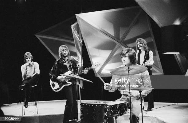 English pop group The Move performing on the BBC TV show 'Top Of The Pops' London 16th January 1969 Left to right Carl Wayne Trevor Burton Bev Bevan...