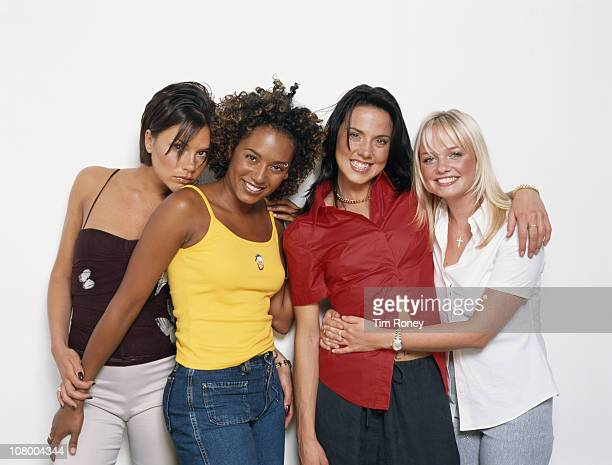 English pop group The Spice Girls, 2000. From left to right, Victoria Adams, later Beckham, Melanie Brown, Melanie Chisholm and Emma Bunton, aka...