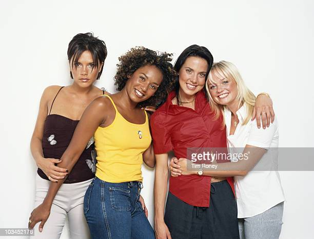 English pop group The Spice Girls 2000 Left to right Victoria Beckham Melanie Brown Melanie Chisholm and Emma Bunton aka Posh Scary Sporty and Baby...