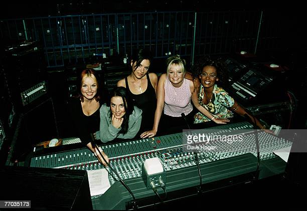 English pop group the Spice Girls in a recording studio circa 1998 From left to right Geri Halliwell Melanie Chisholm Victoria Adams Emma Bunton and...