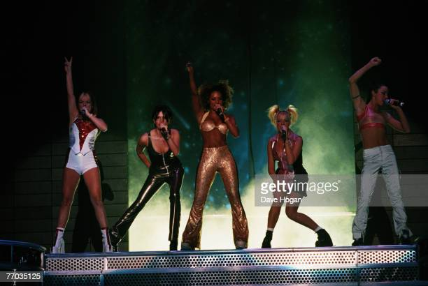 English pop group the Spice Girls in concert circa 1998 From left to right Geri Halliwell Victoria Adams Melanie Brown Emma Bunton and Melanie...