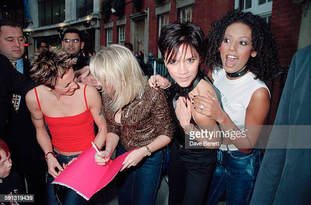 English pop group The Spice Girls signing autographs at a book launch for 'Forever Spice' at the Imagination Gallery in London UK 4th November 1999...
