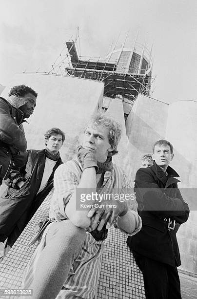 English pop group The Teardrop Explodes outside Liverpool Metropolitan Cathedral Liverpool November 1981 Left to right bassist Ron Francois guitarist...