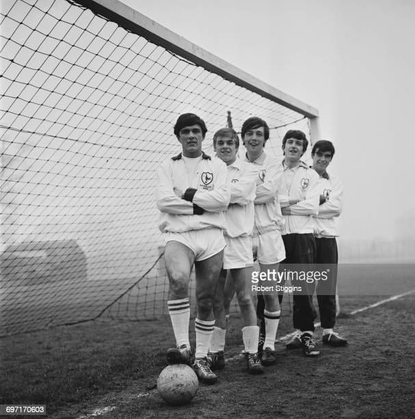 English pop rock group The Dave Clark Five in football gear UK 19th January 1964 From left to right Dave Clark Lenny Davidson Mike Smith Rick Huxley...