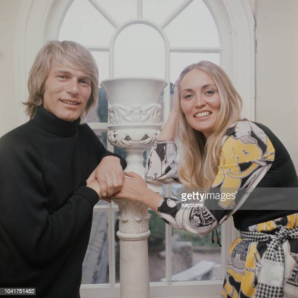 English pop singer Adam Faith at home with his wife Jackie circa 1970