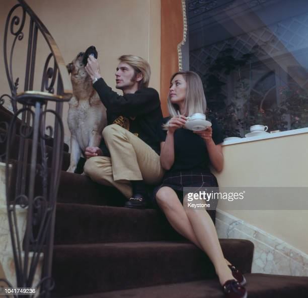 English pop singer Adam Faith at home with his wife Jackie Irving UK circa 1970