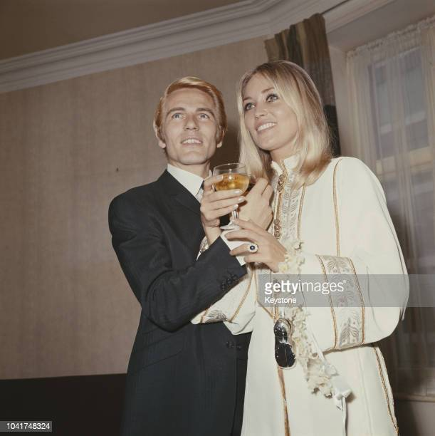 English pop singer Adam Faith with his wife Jackie Irving after their wedding at Caxton Hall registry office in London 19th August 1967