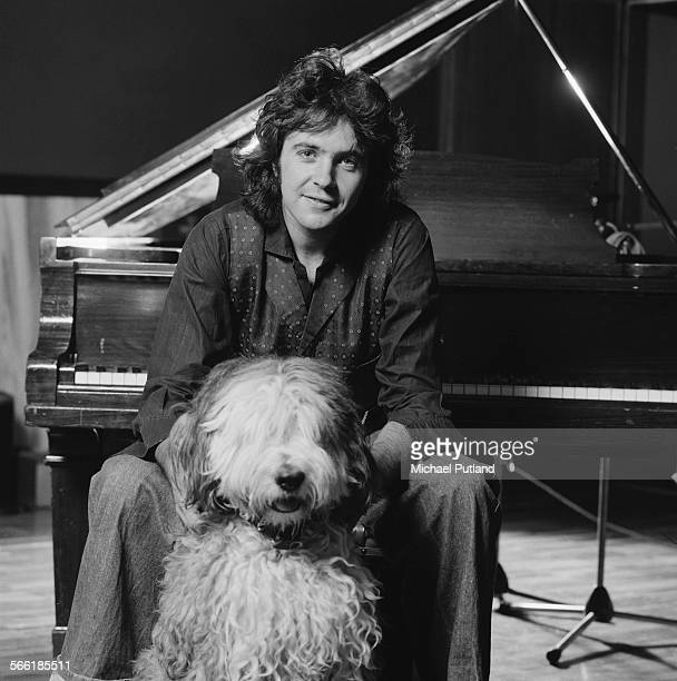 English pop singer and actor David Essex with an Old English Sheepdog 25th July 1975