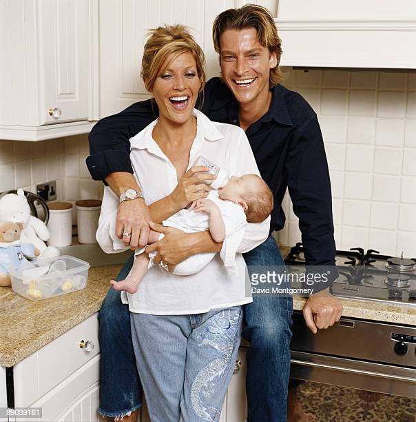 English pop singer and model Mandy Smith with her fiance fashion model Ian Mosby and their son Max Harrison Mosby 2001