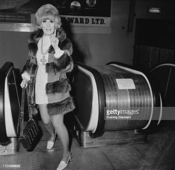 English pop singer and record producer Dusty Springfield at Heathrow Airport London UK 2nd January 1969