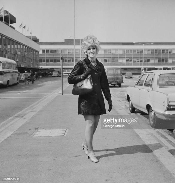 English pop singer and record producer Dusty Springfield at Heathrow Airport UK 16th April 1968