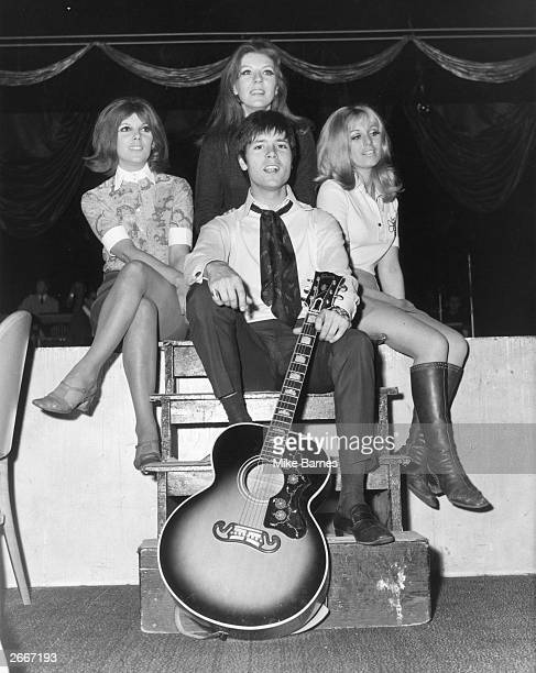 English pop singer Cliff Richard with the 'Breakaways' group during rehearsals at London's Talk of the Town He sang 'Congratulations' the British...
