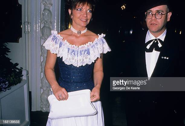 English pop singer Elton John with his wife Renate Blauel at a gala charity performance of Barry Humphries' show 'Back With A Vengeance' at the...