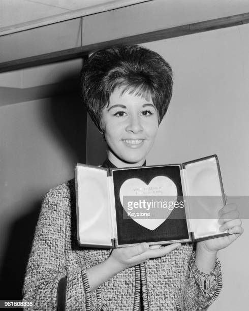 English pop singer Helen Shapiro wins the Most Promising Newcomer award at the Variety Club of Great Britain awards at the Savoy Hotel in London 13th...