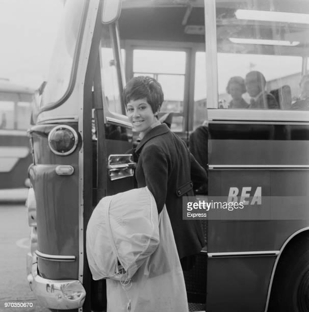 English pop singer jazz singer and actress Helen Shapiro at Heathrow Airport London UK 26th September 1967