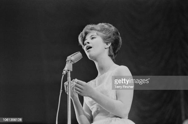 English pop singer jazz singer and actress Helen Shapiro performing at the Daily Express Record Star Show Wembley's Empire Pool London UK 24th March...