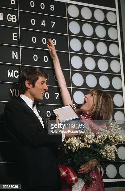 English pop singer Sandie Shaw at the scoreboard after winning the Eurovision Song Contest with her performance of 'Puppet On A String' at the...