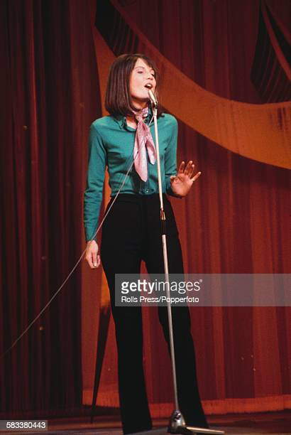 English pop singer Sandie Shaw rehearses on stage before her appearance on the Royal Variety Show at the London Palladium in December 1967