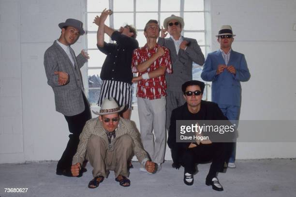 English pop ska band Madness with lead singer Suggs 1983