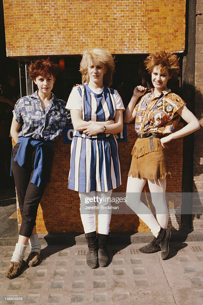 English pop vocal group Bananarama, London, 1982. Left to right: Keren Woodward, Sara Dallin and Siobhan Fahey.