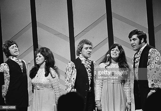 English pop vocal group Brotherhood of Man performing on BBC TV's Young Generation Show London 1970