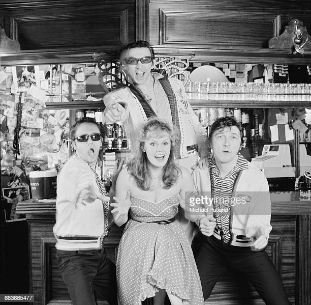 English pop vocal group Rocky Sharpe and the Replays February 1983 Clockwise from left Eric Rondo Rocky Sharpe Johnny Stud and Helen Highwater