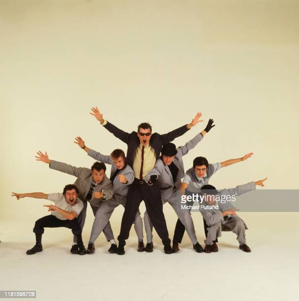 English pop/ska band Madness in London, 1981. This was the image used on the cover of '7', the group's third album. Left to right: Lee Thompson, Mark...