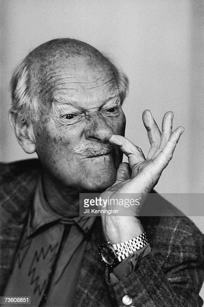 English portrait and fashion photographer Norman Parkinson picks his nose ostentatiously circa 1985