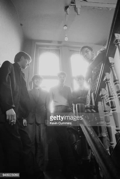 English postpunk band A Certain Ration UK 19th August 1979 Martin Moscrop Jez Kerr Donald Johnson Simon Topping Peter Terrell