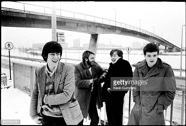 English postpunk band Joy Division in Hulme Manchester 6th January 1979 Left to right drummer Stephen Morris bassist Peter Hook guitarist Bernard...