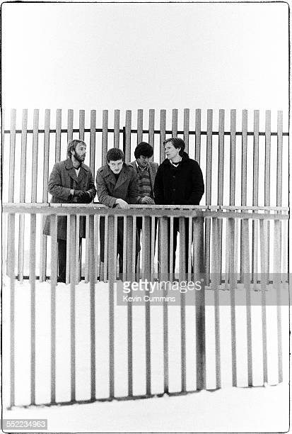 English postpunk band Joy Division in Hulme Manchester 6th January 1979 Left to right bassist Peter Hook singer Ian Curtis drummer Stephen Morris and...