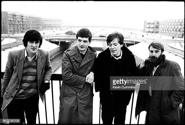 English postpunk band Joy Division in Hulme Manchester 6th January 1979 Left to right drummer Stephen Morris singer Ian Curtis guitarist Bernard...