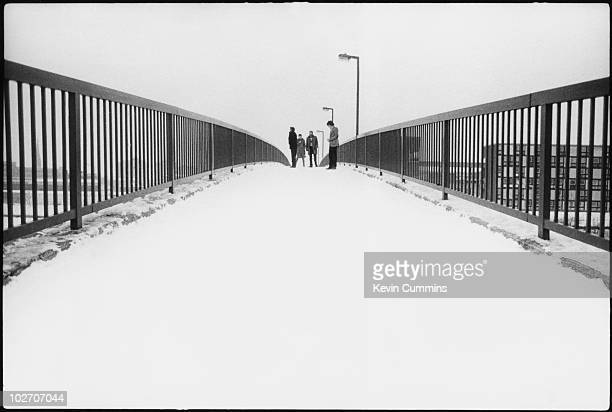English postpunk band Joy Division on the Princess Parkway footbridge Hulme Manchester 6th January 1979
