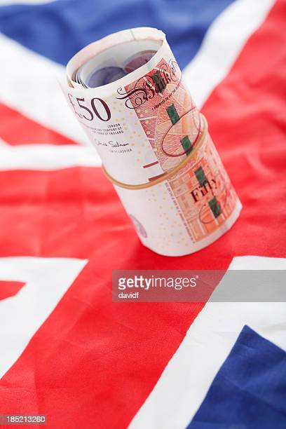 English Pounds and Union Jack