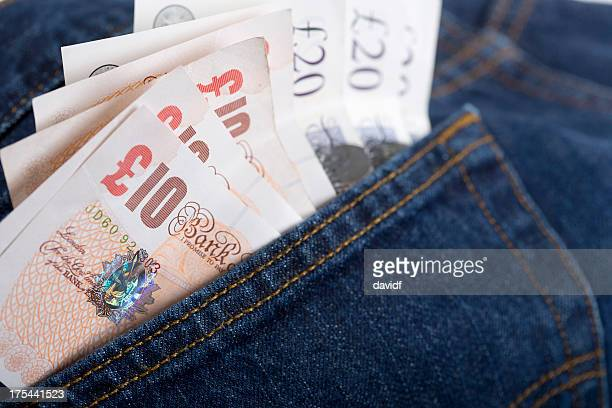 English Pounds in Jeans Pocket