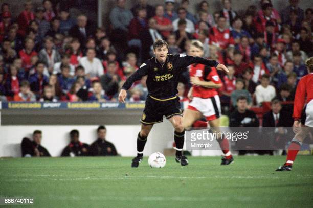 English Premier League match at City Ground Nottingham Forest 1 v Manchester United 1 Andrei Kanchelskis on the ball for United 23rd October 1994